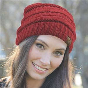 NWT CC Collection Solid Color Red Rib Beanie